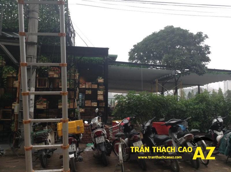Không gian nhà hàng ngập màu xanh của anh Việt tại Bắc Giang