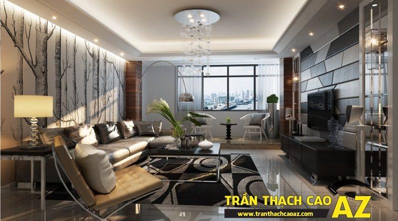 Thiết kế trần thạch cao phòng khách cho nhà biệt thự độc đáo và sang trọng