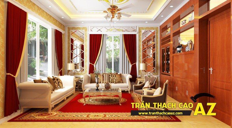 Thiết kế trần thạch cao phòng khách đẹp sang trọng, cổ điển nhà chị Hà, ngõ 20, Hồ Tùng Mậu