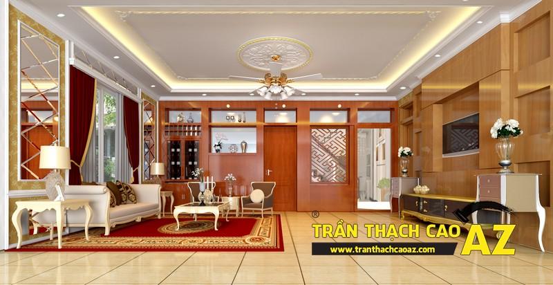 Phương án thiết kế trần thạch cao phòng khách đẹp sang trọng, cổ điển nhà chị Hà 01