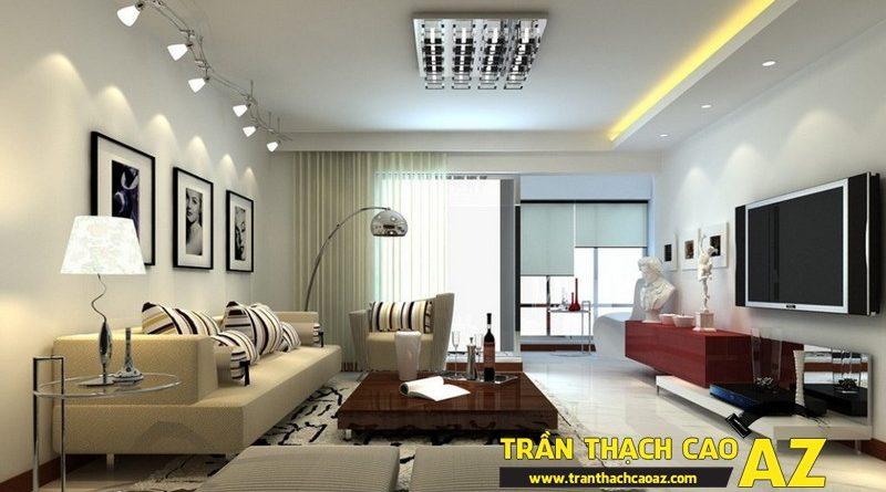 Thiết kế trần thạch cao phòng khách nhà nhỏ giúp mở rộng không gian