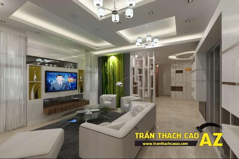 Thiết kế trần thạch cao phòng khách nhà nhỏ giúp mở rộng không gian 02