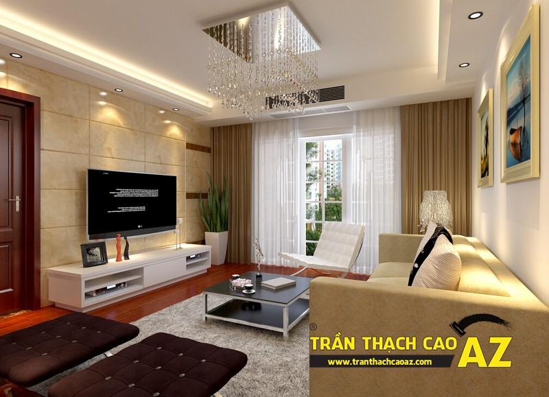 Thiết kế trần thạch cao phòng khách theo xu hướng có điểm nhấn sâu, tạo ấn tượng mạnh