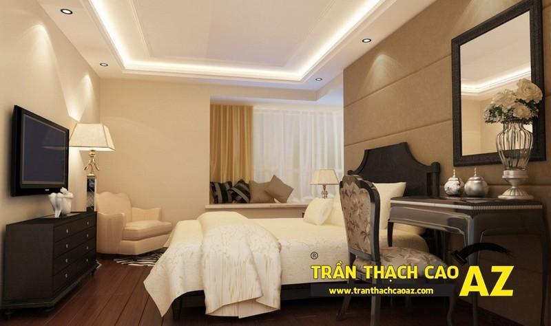 Thiết kế trần thạch cao phòng ngủ theo xu hướng có điểm nhấn sâu, tạo ấn tượng mạnh 01