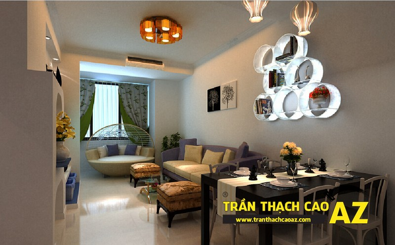 Nhà đẹp với xu hướng thiết kế trần thạch cao phòng khách liền bếp - mẫu 3