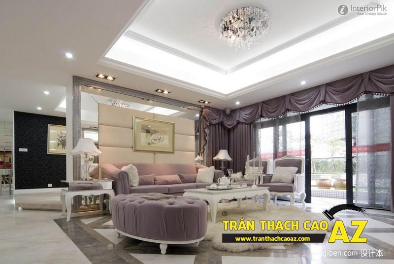 Nhà đẹp với xu hướng thiết kế trần thạch cao có điểm nhấn sâu, mạnh - mấu 1