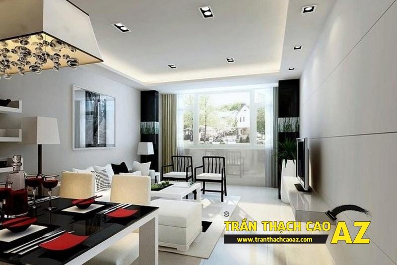 Nhà đẹp với xu hướng thiết kế trần thạch cao phòng khách liền bếp - mẫu 2