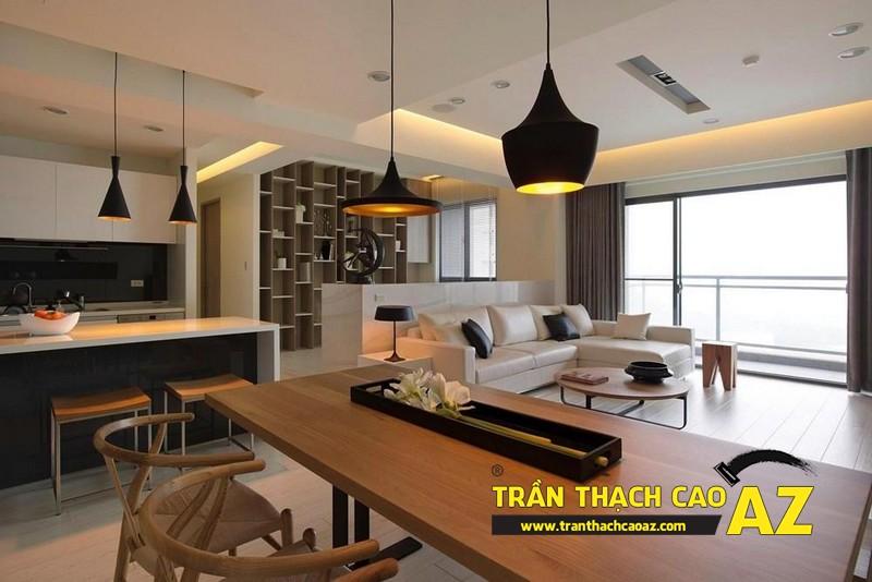 Nhà đẹp với xu hướng thiết kế trần thạch cao phòng khách liền bếp - mẫu 1