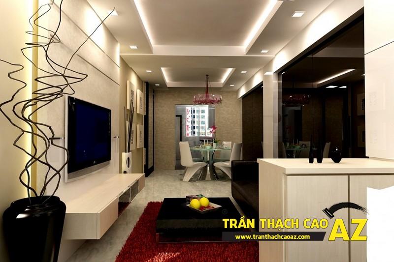 Nhà đẹp với xu hướng thiết kế trần thạch cao phòng khách liền bếp - mẫu 4