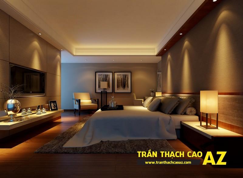 Mẫu trần thạch cao phẳng cho phòng ngủ vợ chồng tại nhà chung cư