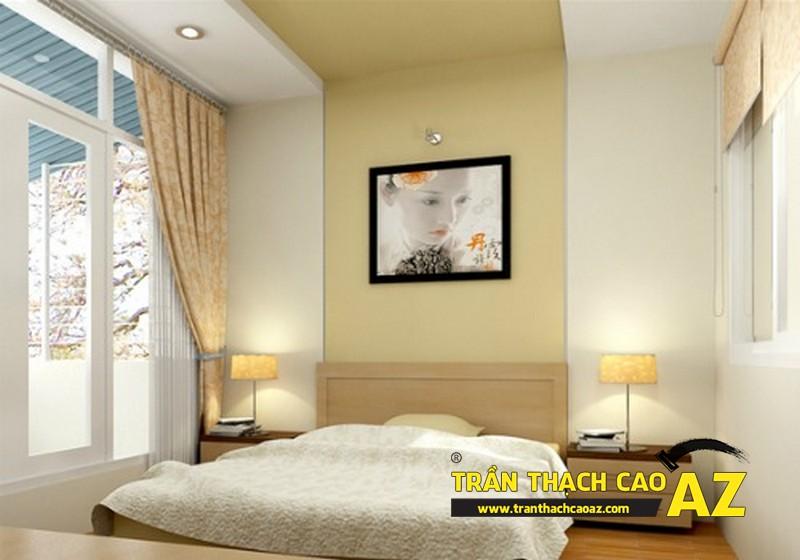 Mẫu trần thạch cao giật cấp cho phòng ngủ vợ chồng tại căn hộ chung cư