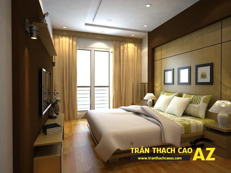 Mẫu trần thạch cao đơn giản cho phòng ngủ vợ chồng tại nhà phố - nhà ống