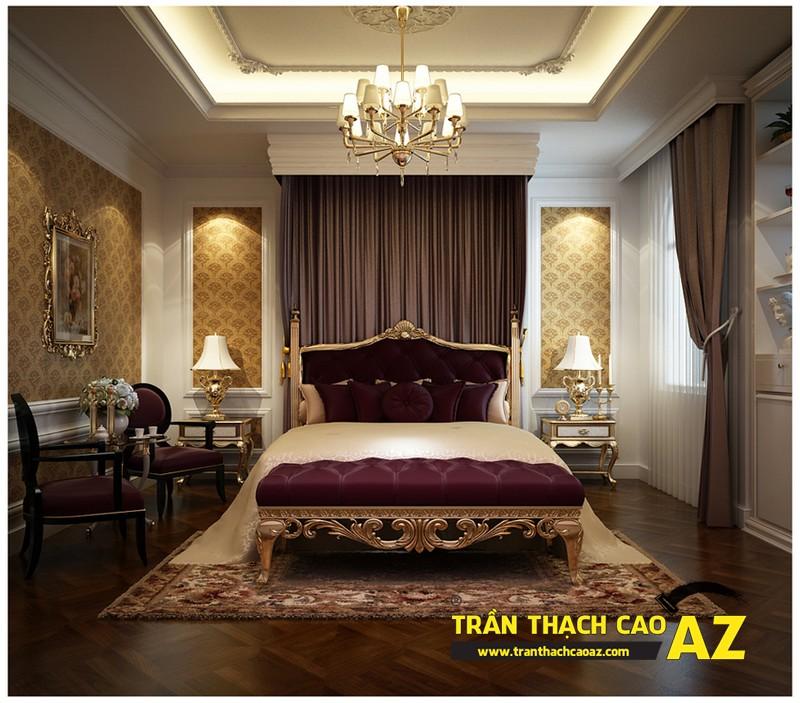 Mẫu trần thạch cao phòng ngủ vợ chồng đẹp cho kiến trúc nhà biệt thự