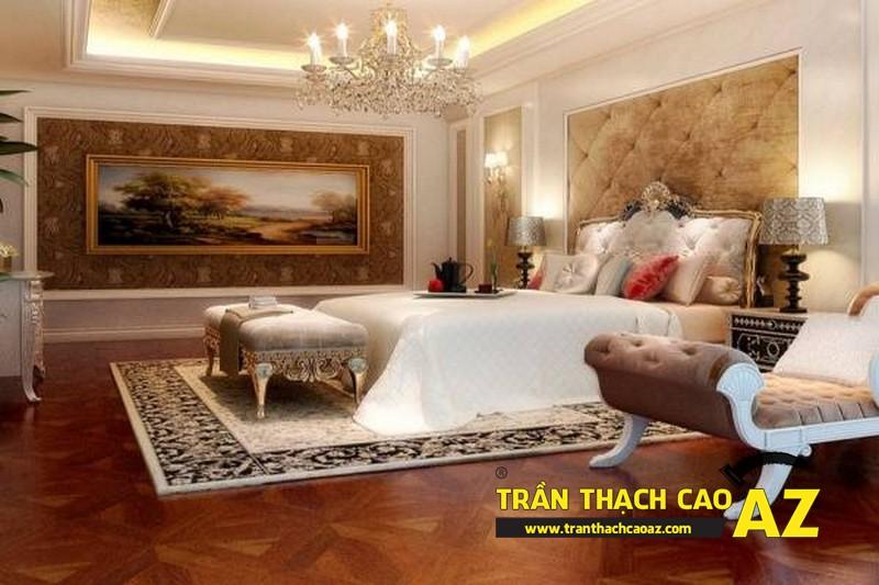 Mẫu trần thạch cao cổ điển cho phòng ngủ vợ chồng tại nhà biệt thự