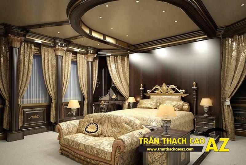 Mẫu trần thạch cao phòng ngủ theo phong cách tân cổ điển cho nhà biệt thự