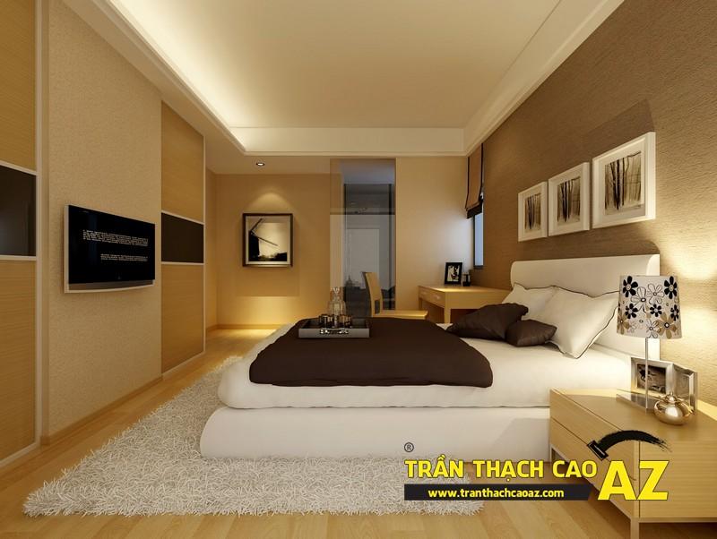 Trần thạch cao phẳng cho phòng ngủ vợ chồng tại nhà chung cư