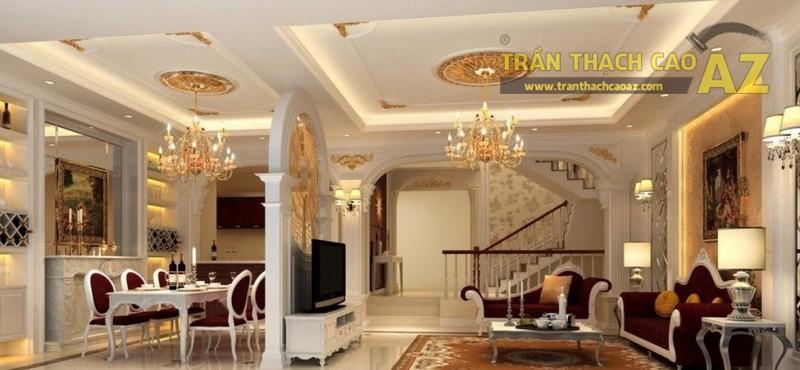 Trần thạch cao phòng khách nhỏ đẹp sang trọng theo phong cách cổ điển - 03