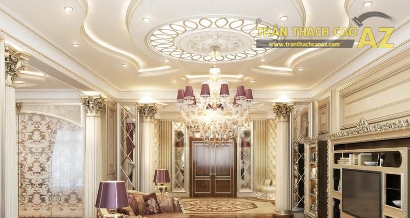 Trần thạch cao phòng khách nhỏ đẹp sang trọng theo phong cách cổ điển - 05