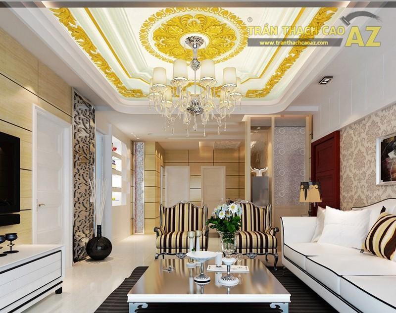 Trần thạch cao phòng khách nhỏ đẹp sang trọng theo phong cách cổ điển - 01