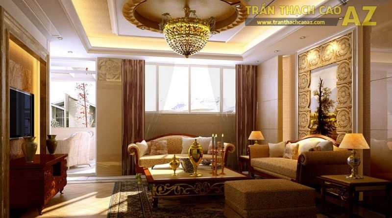 Cách làm trần thạch cao phòng khách nhỏ theo phong cách cổ điển