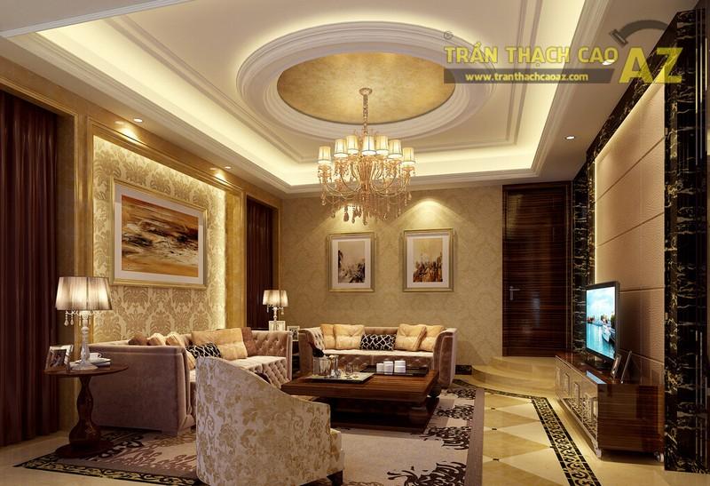 Trần thạch cao phòng khách nhỏ đẹp sang trọng theo phong cách cổ điển - 04