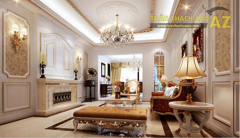 Trần thạch cao phòng khách nhỏ đẹp sang trọng theo phong cách cổ điển - 02