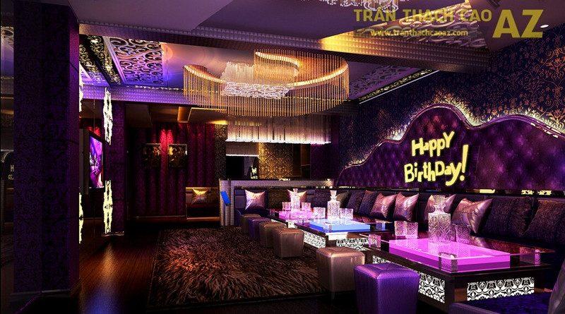 Cách phối màu đẹp bắt mắt ở trần thạch cao phòng karaoke