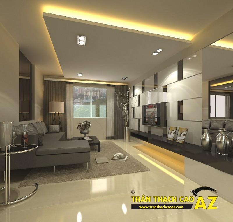 Trần thạch cao phòng khách hiện đại sử dụng cách phối màu trầm