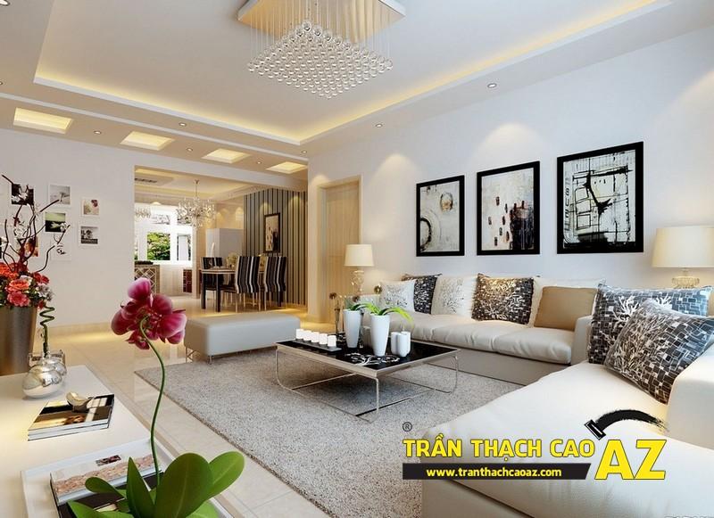 Trần thạch cao phòng khách hiện đại sử dụng cách phối màu đơn sắc nhẹ