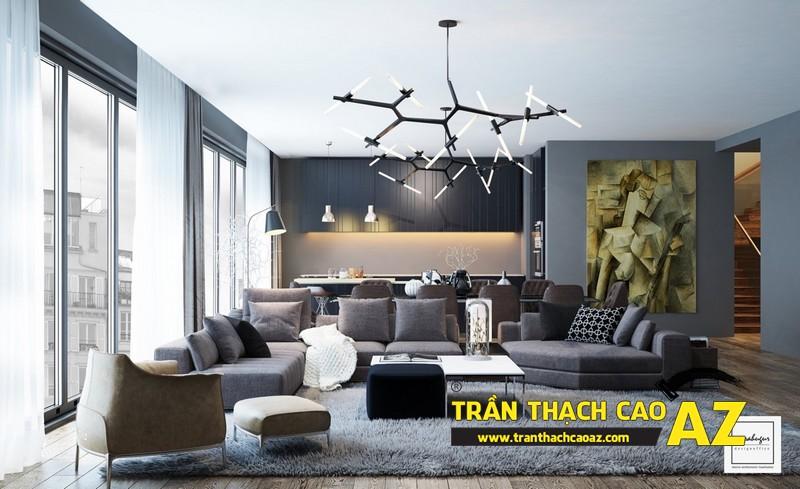 Trần thạch cao phòng khách hiện đại sử dụng cách phối màu tương phản