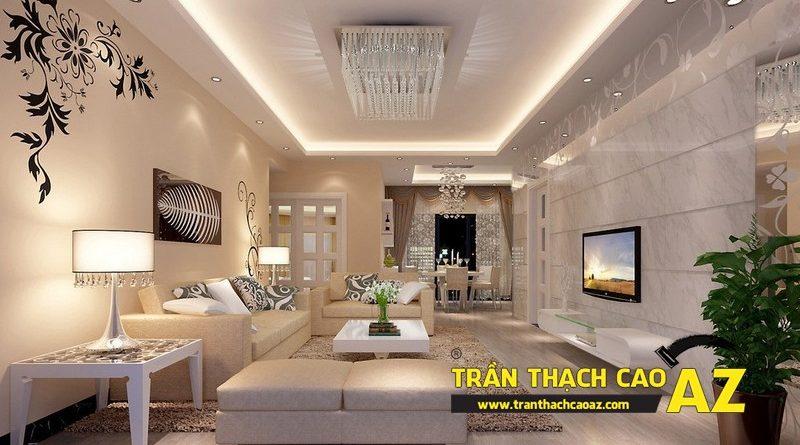 Công thức phối màu đẹp cực chuẩn ở trần thạch cao phòng khách hiện đại