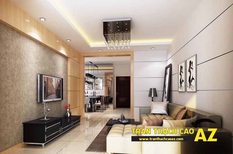 Tạo hình trần thạch cao giật cấp cho không gian phòng khách nhỏ 01