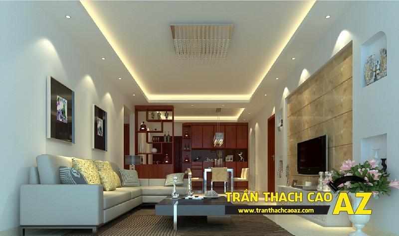 Tạo hình trần thạch cao giật cấp cho không gian phòng khách nhỏ 03