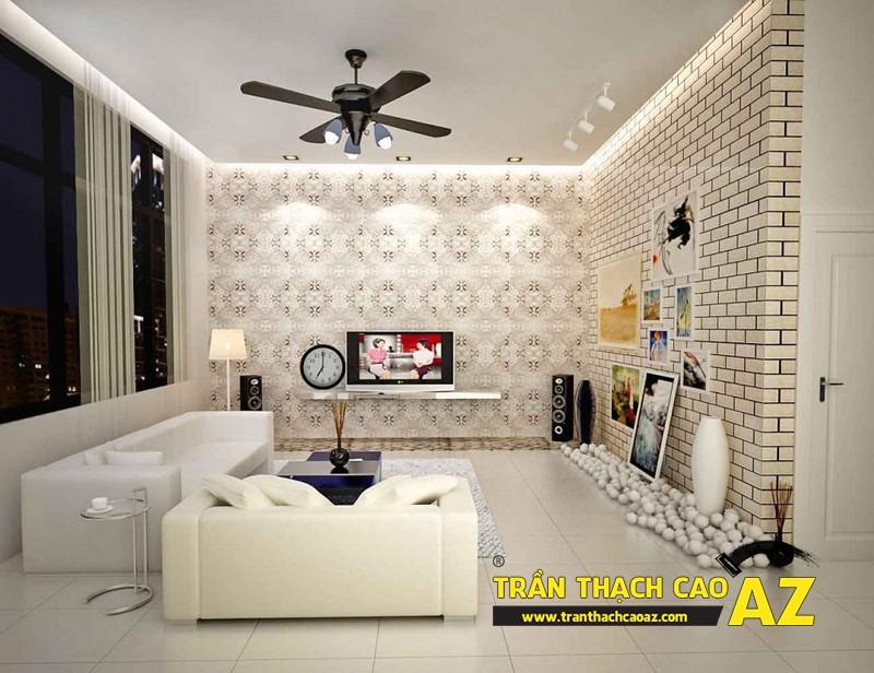 Tạo hình trần thạch cao giật cấp hở cho không gian phòng khách nhỏ