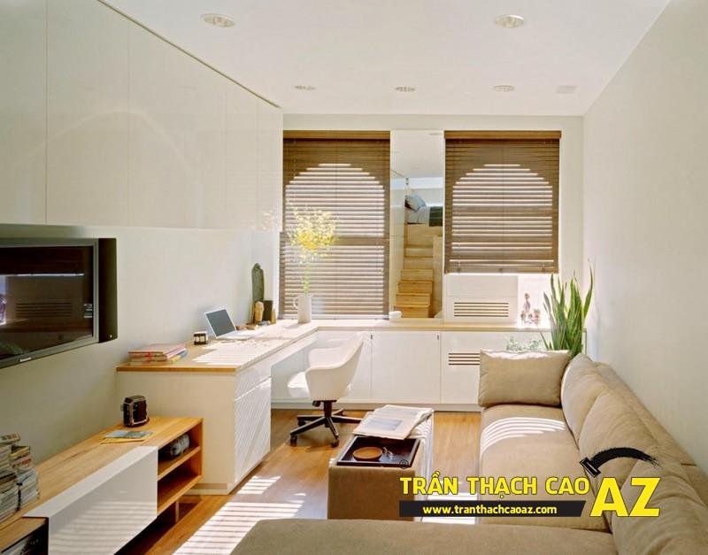 Tạo hình trần thạch cao phẳng cho không gian phòng khách nhỏ 02