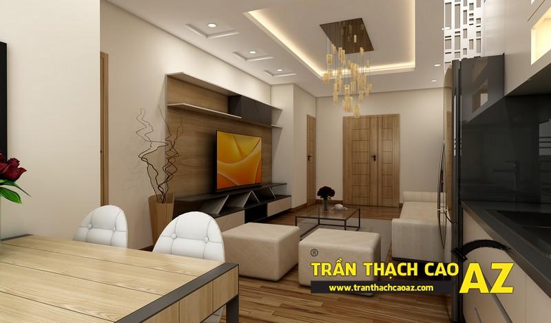 Thiết kế trần thạch cao phòng khách căn hộ CT2B Nam Đô, Trương Định,