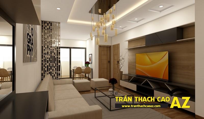 Thiết kế trần thạch cao phòng khách căn hộ CT2B Nam Đô, Trương Định