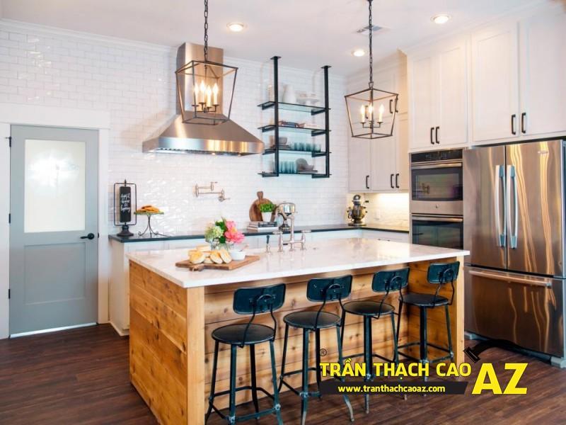 Mẫu trần thạch cao phòng bếp đẹp phong cách vintage có diện tích từ 15m2 - 10