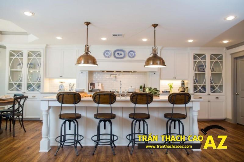 Mẫu trần thạch cao phòng bếp đẹp phong cách vintage có diện tích từ 15m2 - 09