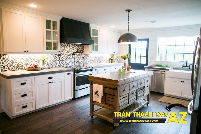 Mẫu trần thạch cao phòng bếp đẹp phong cách vintage có diện tích từ 15m2 - 08