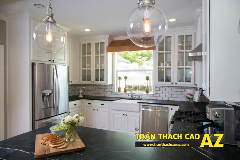 Mẫu trần thạch cao phòng bếp đẹp phong cách vintage có diện tích từ 15m2 - 04