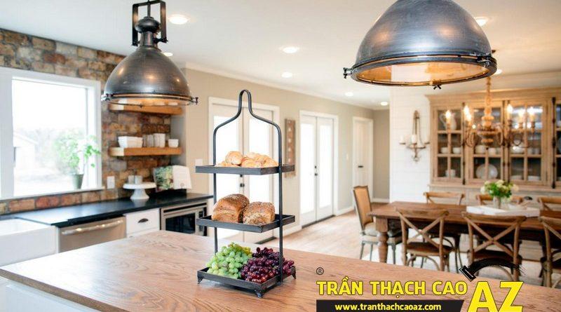 17 mẫu trần thạch cao đẹp phong cách vintage cho phòng bếp từ 15m2