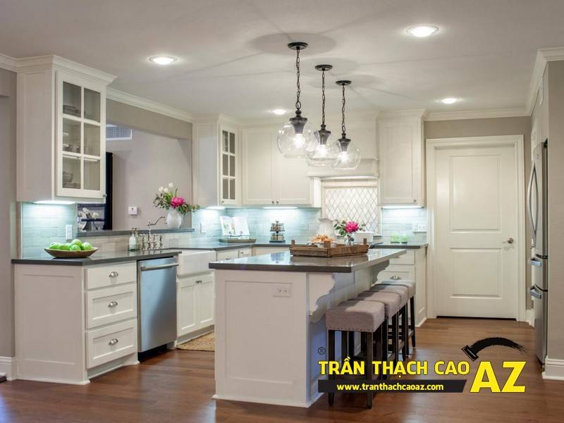 Mẫu trần thạch cao phòng bếp đẹp phong cách vintage có diện tích từ 15m2 - 02