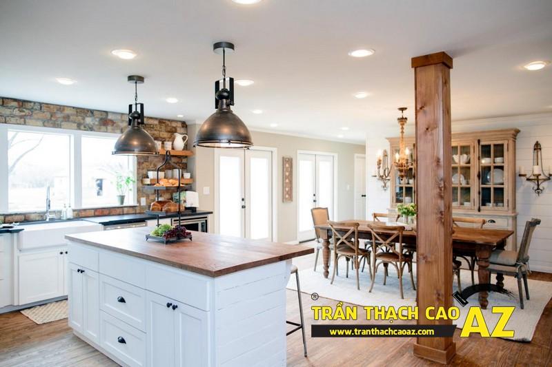 Mẫu trần thạch cao phòng bếp đẹp phong cách vintage có diện tích từ 15m2 - 01