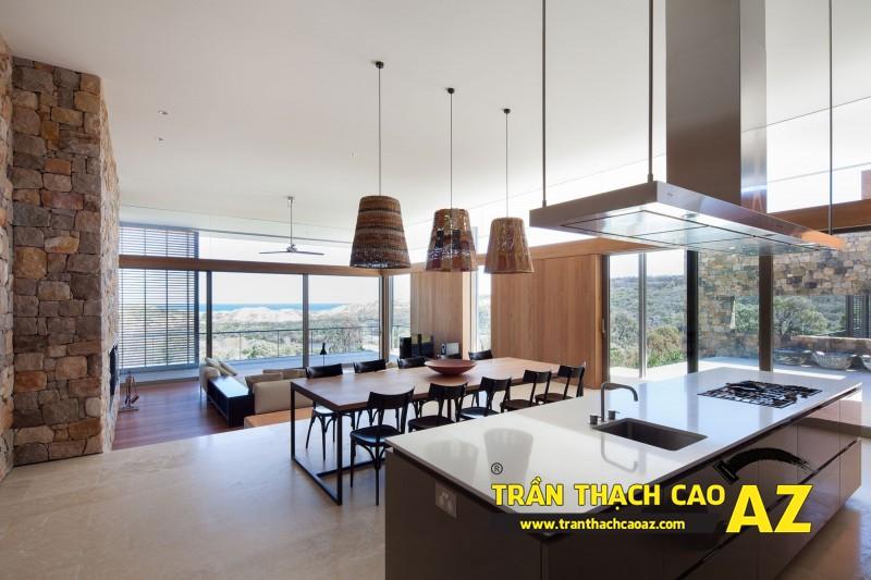 Mẫu trần thạch cao phòng bếp đẹp phong cách vintage có diện tích từ 15m2 - 14