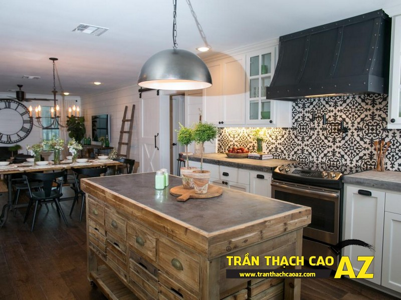 Mẫu trần thạch cao phòng bếp đẹp phong cách vintage có diện tích từ 15m2 - 15