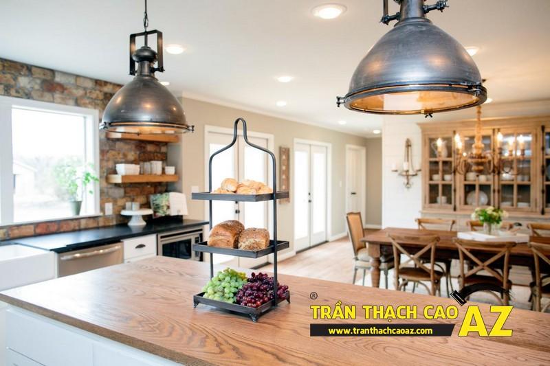 Mẫu trần thạch cao phòng bếp đẹp phong cách vintage có diện tích từ 15m2 - 12