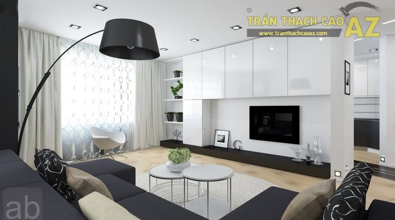 """""""Bừng sáng"""" không gian phòng khách nhỏ với mẫu trần thạch cao đơn giản"""