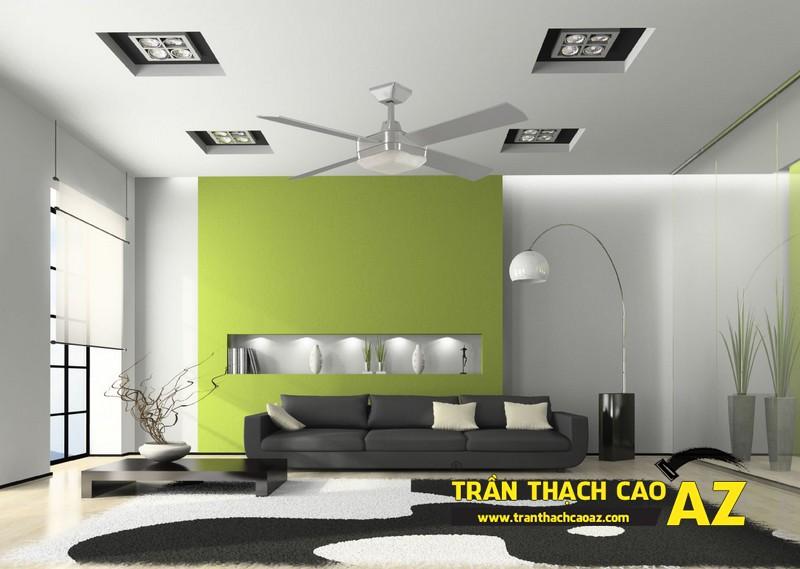 Mẫu 1 - Trần thạch cao phòng khách đẹp hiện đại