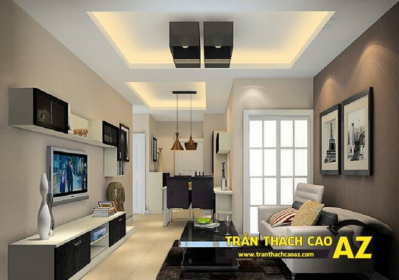 Mẫu 7 - Trần thạch cao phòng khách đẹp hiện đại